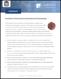 Pandemic Planning for Businesses Checklist
